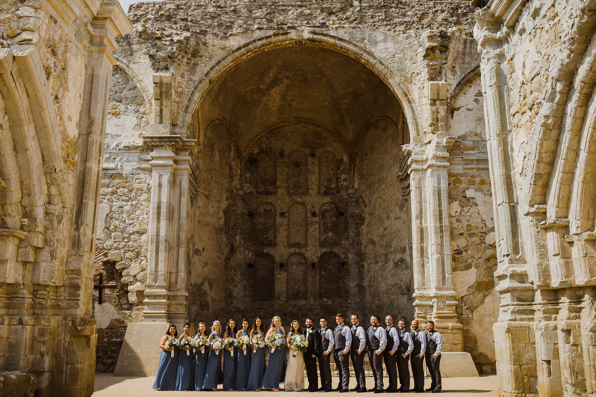 Bridal Party Portrait at the Mission in San Juan Capistrano CA