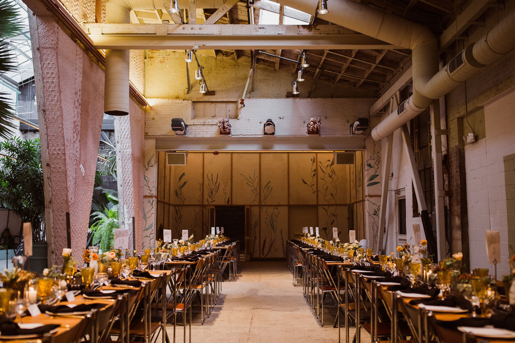 The wedding reception space at the Grass Room DTLA